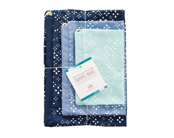 Hand-Printed Drawstring Travel Bag Set  - The Blue Collection