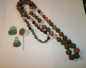 Vintage Mix Lot, Genuine Faceted Jade Necklace, Jade Carved Budas, Jade Pin