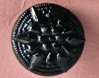 6 Small Vintage Black Glass Buttons for Sewing and Crafts