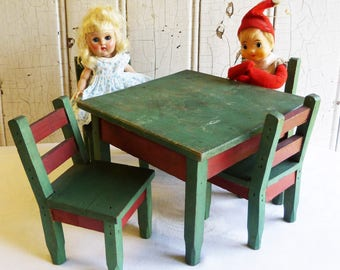 VIntage Handmade Wood Table and Four Chairs - 5 Pieces Doll Furniture - Red and Green - Mid-Century 1950s - Christmas Decoration