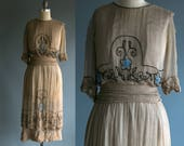 Antique 1920's Dress / 20's Silk Dress with Glass Beadwork / Flapper