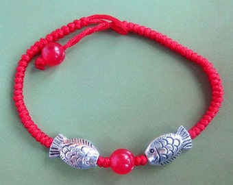 Red Silk Cord With Alloy Metal Twin Fishes Beads Jewelry Bracelet  T2310