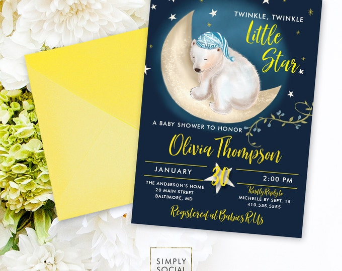 Little Star Baby Shower Invitation - Printable Party Invitation Twinkle Little Star Polar Bear Moon and Stars Baby Shower Printable