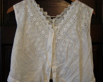 Edwardian Ivory Cotton Linen Eyelet Corset Cover Camisole L