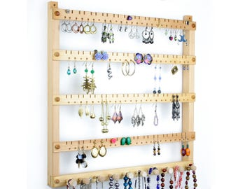 Basswood Wall Mount Earring Organizer - Earring Holder, 96 pairs, 10 Necklace Hanger Pegs. Jewelry Holder - Jewelry Display