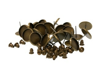 12mm Antiqued Brass Earring Tray Settings, Earring Backs INCLUDED