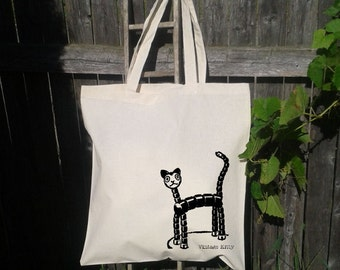 Eco Friendly Canvas Tote Bag - Reusable Grocery Bags - Unique Images - Vintage Kitty