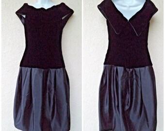 1980s PROM DRESS. 80s Party Dress. Black Velvet & Satin Dress. Bubble Skirt Dress. 80s Prom Dress. Modest Cut Dress. Drop Waist Dress. M