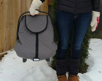 Baby Carseat Cover- Infant Car Seat Cover- Baby Car Seat Canopy-Winter Polar Car Seat Line-Charcoal Grey with Black Trim