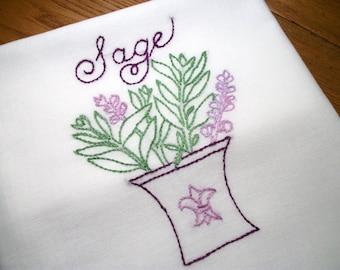 Dish (Tea) Towel with Herb Garden Design Hand Embroidery Flour Sack Dish Towels Sage  Dish Towel