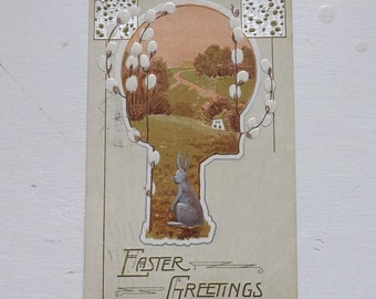 Antique Easter postcard Easter bunny Easter rabbit country scene with pussy willows ephemera
