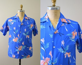1980s Blue Hawaiian Aqua Shirt