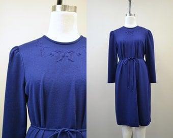 1970s Toni Todd Navy Knit Trapunto Dress