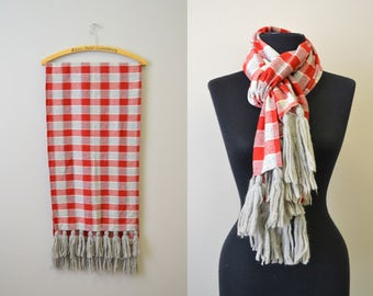 1970s Red and Gray Plaid Wool Scarf