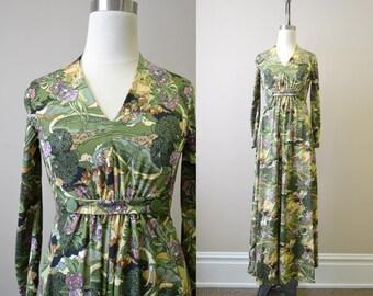 1970s Art Nouveau Printed Maxi Dress