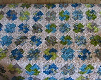 Blue, Green and Gray Cardtrick Homemade Queen Size Quilt