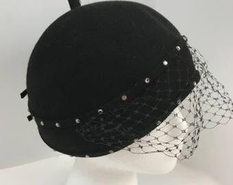 Vintage Bellini Original Black Wool Felt Beanie Hat with Veil and Rhinestone Trim