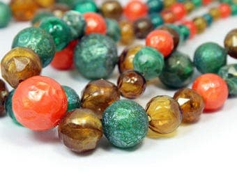 Colorful 3-Strand Big-Bead Necklace