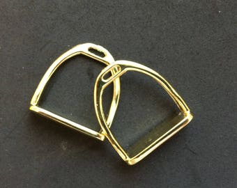 30 Gold Tone Stirrup Charms