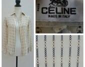 ON HOLD xs/xxs Vintage 70s CELINE Silk Horsebit Equestrian Blouse