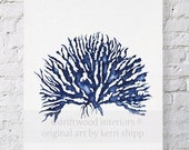 BLACK FRIDAY SALE Sea Coral Iv in Denim Blue Watercolor Print 11x14 - Blue Coral Art - Blue Sea Fan - Sea Life Art Print - Coral Art Print