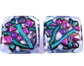 """SET of TWO Dichroic Knobs - Cabinet or Drawer Pull Handle - Violet Flowers Pink Magenta Fuchsia Purple Lavender Green Fused Glass 1"""" / 25mm"""