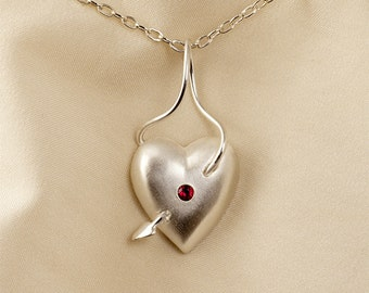 Ruby Heart Pendant Necklace in Sterling Silver