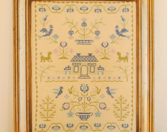 Large framed cross stitch sampler- 1970s
