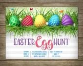 Easter Egg Hunt Invitation, Easter Party, DIY Printable Easter Invitation, Personalized, Studio Veil