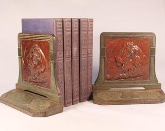 REDUCED! Pair of Vintage Art Deco Cast Metal Lion Head Bookends.