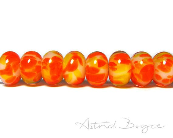 Sunshine Glass Beads - Artisan Lampwork Glass Spacer Beads - Fun in the Summer with Jewelry and Craft Creations -Perfect for leather or cord