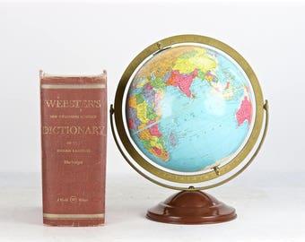 "Vintage Globe, World Globe, Mid Century Globe, 1950's Globe, Replogle 10"" Globe, Old Globe, Desktop Globe, Globe, Globe Vintage"