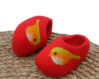 Hand Felted Wool Slippers  in Red  with Birds decor. Size EU 24; EU 25 ready to ship!