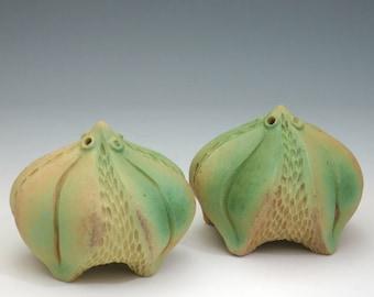 Leafy salt and pepper set in green & tan, hand carved porcelain