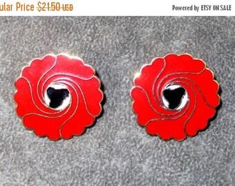 ON SALE Vintage Red Enamel Floral Earrings, Pierced signed Faulkner Designs