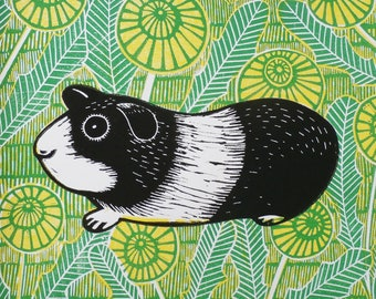 Guinea Pig, Original Linocut Print, Signed Open Edition, Free Postage in UK, Hand Pulled, Printmaking,