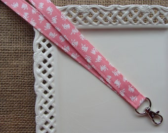 Fabric Lanyard - Some Bunny Loves You on Pink