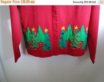 Bechamel Red Christmas Sweater Women's Medium Holiday Trees