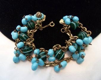 MIRIAM HASKELL Vintage Cha Cha Bracelet Blue Green Glass Bead Brass Chain Link