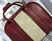 Vintage Bowling Bag - Oxblood Bowling Bag with Creamy Bone Stripes - Retro Rockabilly - Antique Gold Piping and Hardware