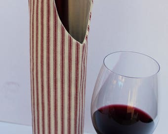 Ticking Stripe Red and White Wine Bag Gift Tote Bag Handmade in USA