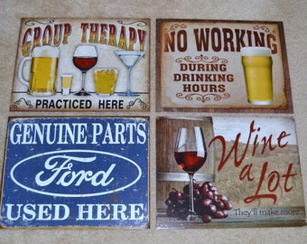 Any 4 vintage style tin signs priced at 12.95 your choice  garage  signs, vintage signs
