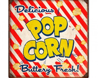 """vintage style metal sign,Delicious pop corn buttery fresh! 12"""" x 12"""" movies, theater, bar decor, home decor"""