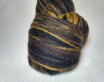 Kauni Wool Yarn Color ED, Self-Striping, Mega-Yardage, Black Brown Mustard Yellow Gradient