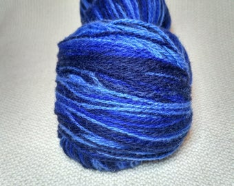 KAUNI Wool Yarn Effektgarn, Self-Striping Yarn, Dark Deep Blue, Blue, Sky Blue