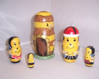 Hand painted Bees Collection stacking nesting doll set