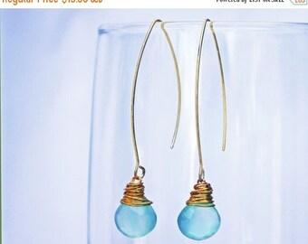 20% off. Chalcedony teardrop earrings in gold