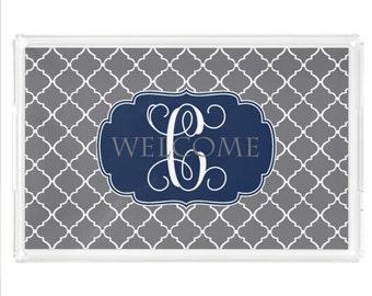 Personalized Lucite Tray, Monogram Acrylic Tray with Handles, Coffee Table Tray, Vanity Tray, Breakfast Tray, Decorative Tray