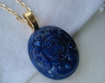 Vintage Czech Carved Lapis Lazuli Gablonz Glass Pendant Gold Necklace Asian Oriental Bohemia