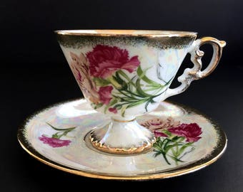 "Vintage Tea Cup and Saucer, Pearlized ""January Carnation"" Teacup, Japanese Bone China 13918"